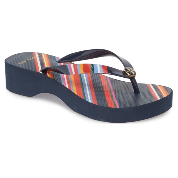 8542381fc TORY BURCH Wedge Flip Flop in Vivid Stripe